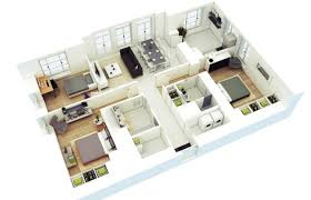 d three bedroom house layout design