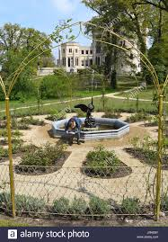 the golden rose garden in the park of lsberg palace in potsdam germany 03 may 2017 the exhibition pueckler lsberg the park enthusiast prince