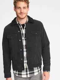 sherpa lined black denim jacket for men
