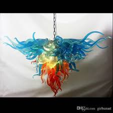 artistic designer blue and orange glass shade pendant lamps chihuly hand blown glass chandelier lighting led top table chandeliers hanging pendant glass
