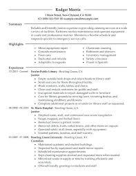 Sample Janitorial Resumes Janitor Resume Duties Professional