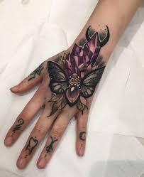 Moth Crystals Girls Hand Tattoo Best Tattoo Design Ideas