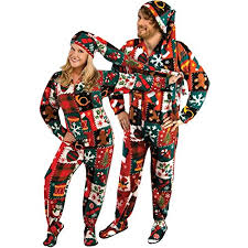 Ugly Christmas Onesie for Adults with Long Night Cap | Ugly ...