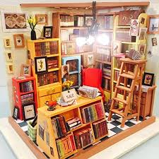 furniture for a study. Dollhouse Miniatures DIY Furniture Kit Doll House With For Gift ( Study Room) - 9Y4IPTZ0D A