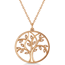 large diamond tree of life pendant necklace 14k rose gold 0 15ct