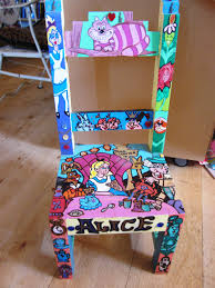 alice in wonderland furniture. handpainted wooden alice in wonderland inspired childrens chair 24000 via etsy furniture e