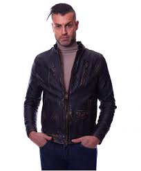 benny black colour lamb leather jacket biker style vintage aspect