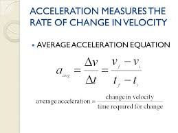 average acceleration equation acceleration measures the rate of change in velocity