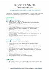 Clothing Sales Associate Resume Samples | Qwikresume