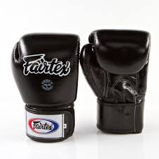 fairtex tight fit universal muay thai boxing leather gloves black leather