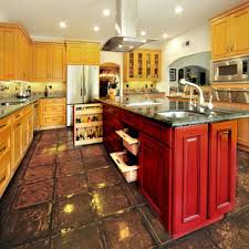 75 Beautiful Kitchen With Raised-Panel Cabinets And Red Cabinets ...