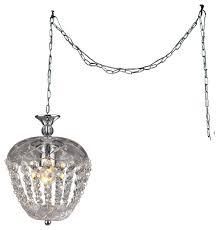 warehouse of tiffany miriam 1 light crystal 8 chrome swag lamp