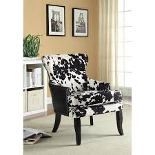 Printed Chairs Living Room Accent Seating Cowhide Print Leatherette Accent Chair