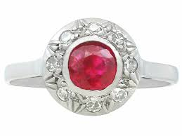 details about antique ruby diamond 18 carat white gold cer ring 1920s size o 1 2