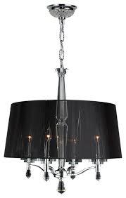 elegant 4 light chrome crystal chandelier black string shade