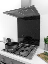 Black Splashback Kitchen 60cm X 75cm Coloured Glass Splashback Cosmos Black Silver