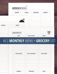Grocery List Awesome Monthly Menu Grocery List Printable A44 Meal Planner Etsy