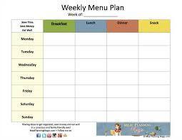 Free Weekly Menu Plan Grid Printable!