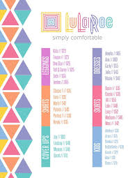 Lularoe Price Chart Lularoe Prices Lularoe Leggings Medium