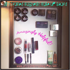 a classy diy framed magnetic makeup board a simple storage solution for a small bathroom