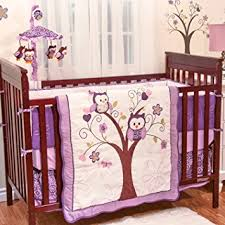 Amazon Plum Owl Meadow 4 Piece Baby Crib Bedding Set by