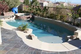 swimming pool: Wonderful Small Pool Designs Shaped In Irrgeluar And  Enhanced With Small Palm Trees