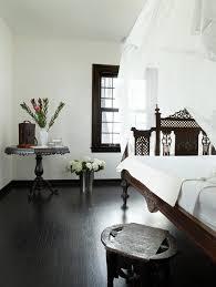white bedroom with dark furniture. White Walls Dark Trim Bedroom Mediterranean With Black Wood Floor Sheer Canopy Furniture G