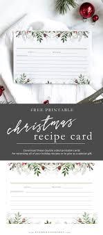 Printable Christmas Recipe Cards Christmas Greens Printable Recipe Card Anderson Grant