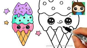 how to draw ice cream cone easy pusheen