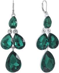 monet jewelry monet jewelry green chandelier earrings