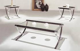 set of glass top contemporary coffee  end tables wchrome legs