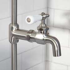 wall shower set with exposed pipe riser and tub filler bathroom with regard to bathtub spout