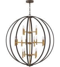 hinkley 3464sb euclid 16 light 44 inch spanish bronze chandelier ceiling light