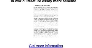 ib world literature essay mark scheme google docs
