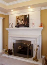 fireplace mantel lighting. Chic Recessed Lighting Also Luxurious White Fireplace Mantel And Surround  Plus Wall Painting Decor With Glass Screen Idea Fireplace Mantel Lighting