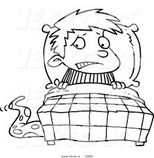 Vector Of A Cartoon Scared Boy