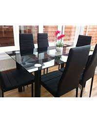 Unique dining room chairs Ideas Kosy Koala Stunning Black Glass Dining Table Set And Faux Leather Chairs Amazon Uk Dining Table Sets Shop Amazon Uk