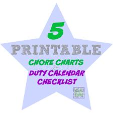 5 Printable Duty Calendar Charts For Children Kids