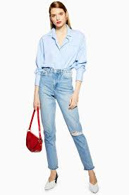 Best diy high waisted jeans outfits for women Short Torso Bleach Ripped Mom Jeans As Part Of An Outfit Topshop Ripped Jeans Jeans Topshop