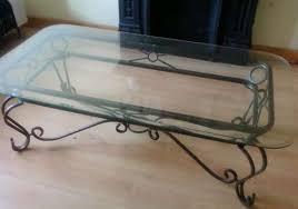 rectangular simple iron glass coffee table decorations unique antique classic furnishing design black steel