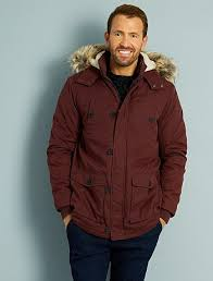 Quilted parka with faux fur hood Men size s to xxl - brown - Kiabi ... & Quilted parka with faux fur hood ... Adamdwight.com