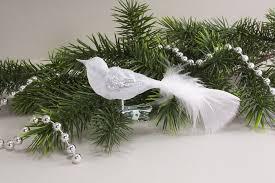 Kleiner Vogel Eisweiß Transparent Silber Mit Weißer Feder Christbaumschmuck Aus Glas
