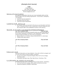 Brief Resume Example short cv samples Josemulinohouseco 2