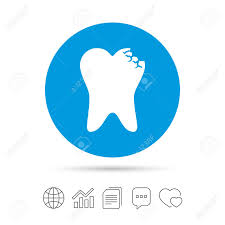 Broken Tooth Icon Dental Care Sign Symbol Copy Files Chat