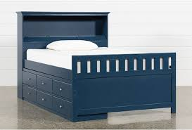 Taylor Navy Full Bookcase Bed With Single 6-Drawer Storage and USB