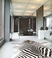 Furniture:Modern Room Design With Abstract Zebra Print Fabric Rug Near  White Modern Chair Graceful