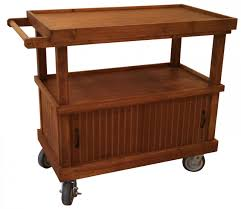rustic wood rolling retail display mobile shelf cart cabinet