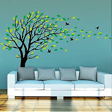 large dark and green tree blowing in the wind tree wall decals wall sticker vinyl art kids rooms teen girls boys wallpaper murals sticker wall stickers  on wall art tree images with tree wall decals amazon