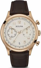 men s bulova classic brown and rose chronograph leather watch 97b148 loading zoom