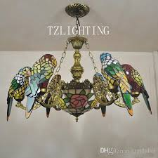 creative tiffany chandelier six parrots metal pendent light hand regarding ceiling lamp shades prepare 4